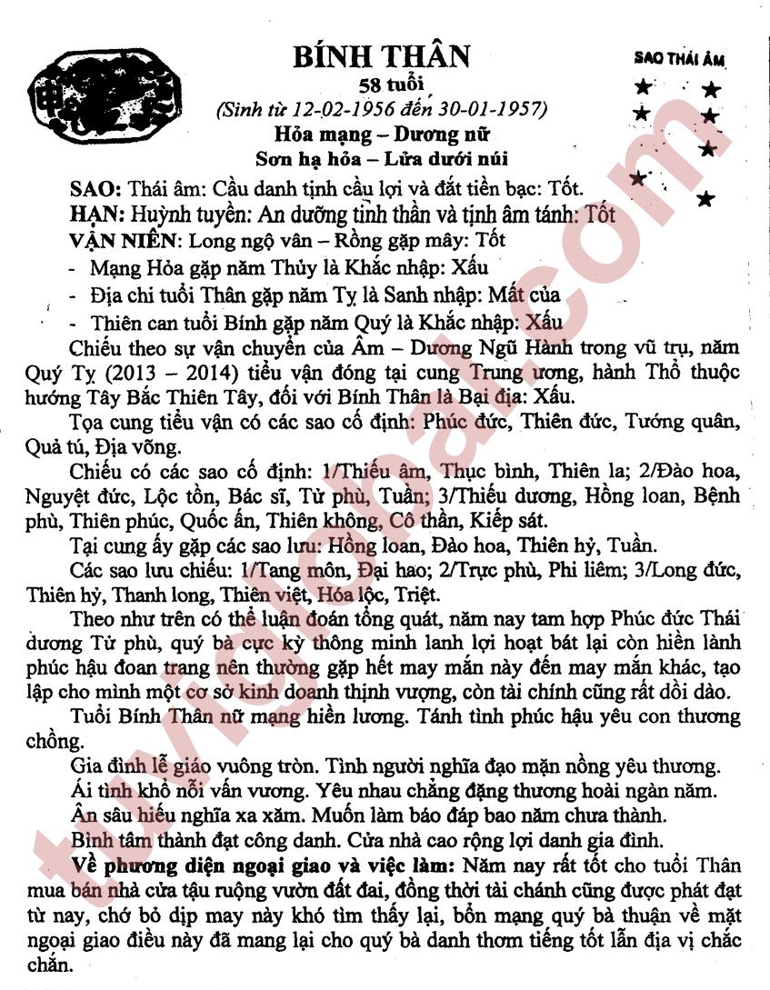 Bính Thân (12.02.1956 - 30.01.1957) - Dương Nữ