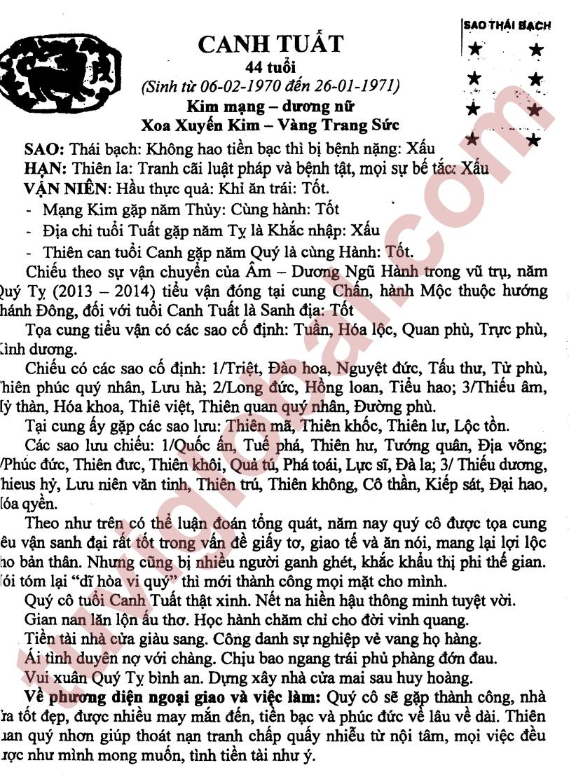 Canh Tuất (06.02.1970 - 26.01.1971) - Dương Nữ