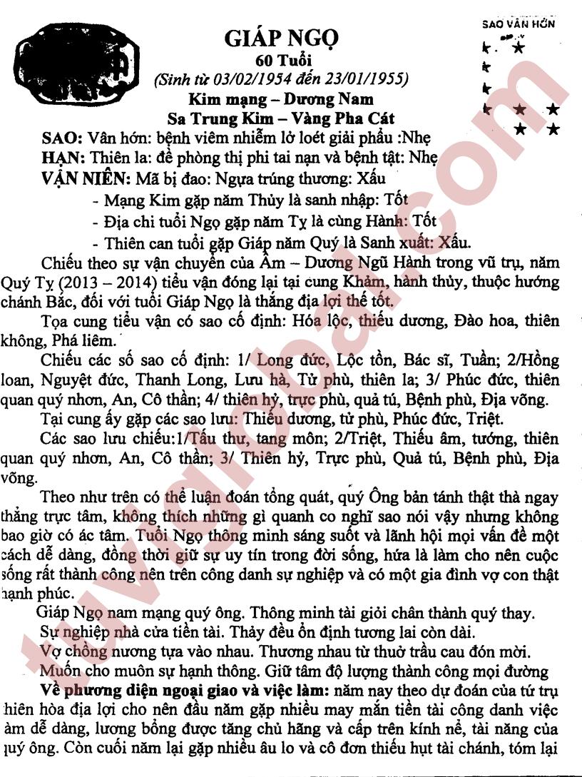 Giáp Ngọ (03.02.1954 - 23.01.1955) - Dương Nam
