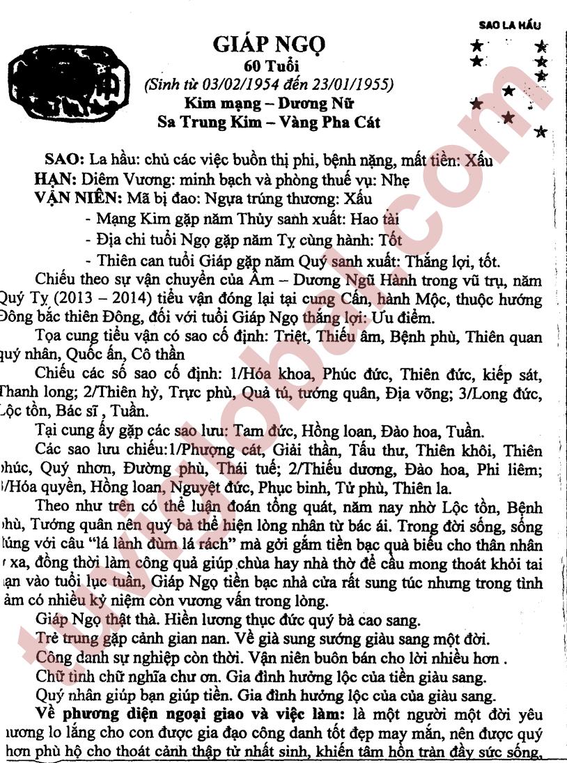 Giáp Ngọ (03.02.1954 - 23.01.1955) - Dương Nữ