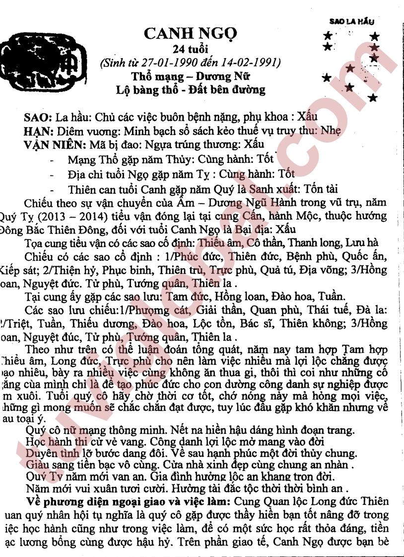 Canh Ngọ (27.01.1990 - 14.02.1991) - Dương Nữ