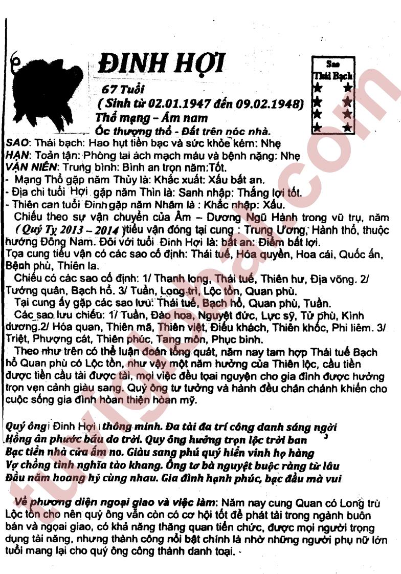 Xem tử vi vận hạn tốt xấu năm Quý Tỵ 2013 (cực đầy đủ) - www.TAICHINH2A.COM