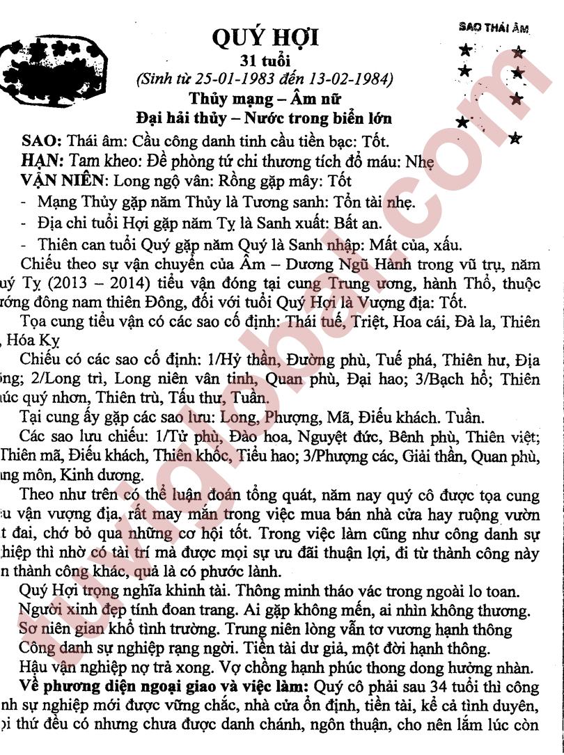 Quý Hợi (25.01.1983 - 13.02.1984) - Âm Nữ
