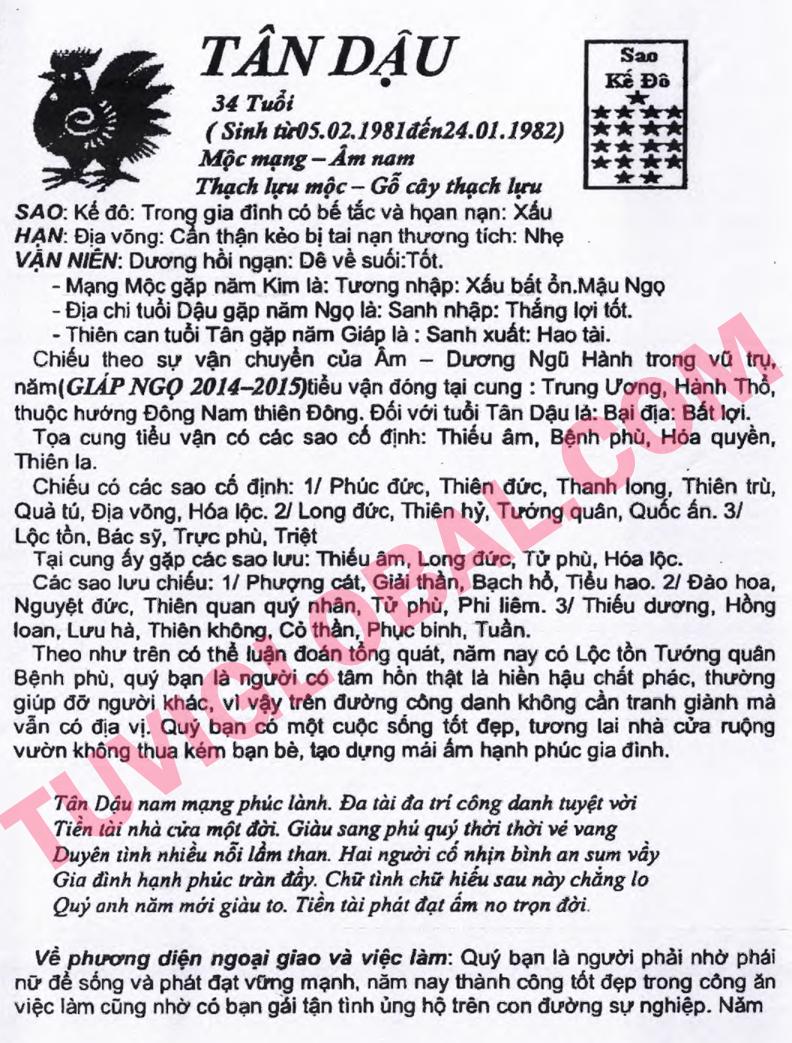 TỬ VI TUỔI TÂN DẬU 1981 NĂM 2014 GIÁP NGỌ - Blog Trần ...